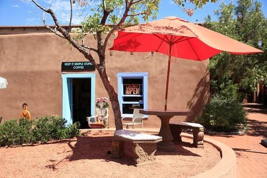Stock Photo: 1566-855701 Cafe, Adobe Architecture, Old Town, Albuquerque, New Mexico, USA