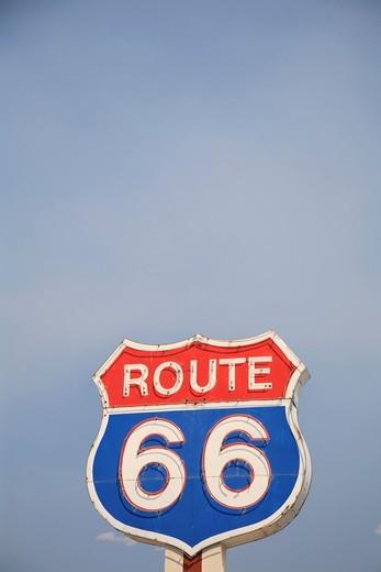 Route 66 Sign, Route 66, Near Albuquerque, New Mexico, USA : Stock Photo