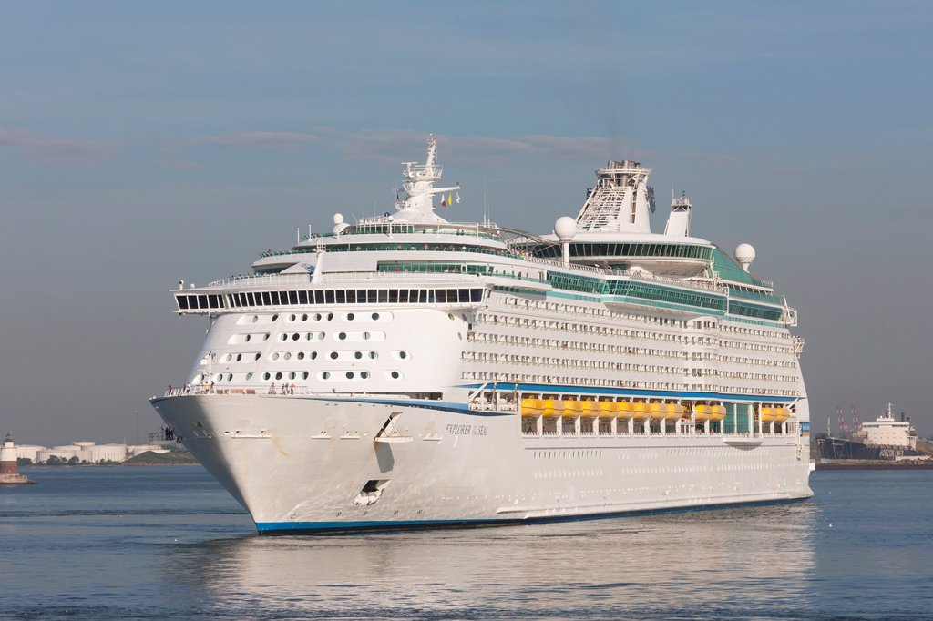 Stock Photo: 1566-856183 Royal Caribbean cruise ship Explorer of the Seas in New York Harbor prior to docking at the Cape Liberty Cruise Port in Bayonne, New Jersey and departure for Bermuda