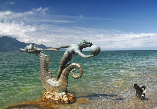 Stock Photo: 1566-856484 Hippocampe, work of art by Edouard Marcel Sandoz, Vevey close to Montreux, canton Vaud, Geneva Lake, Switzerland