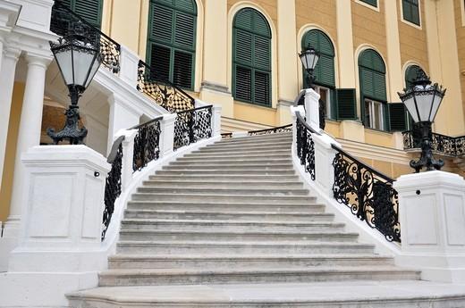 Staircase, Schoenbrunn Palace, Vienna, Austria, Europe : Stock Photo