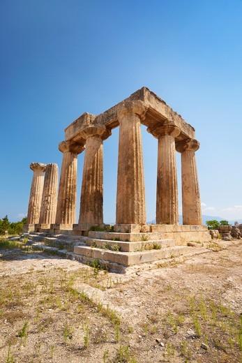 Temple of Apollo, Corinth, Peloponnese, Greece : Stock Photo