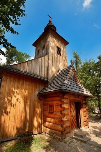 Antique wooden church in Zakopane, Podhale region, Poland, Europe : Stock Photo