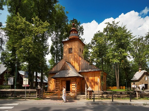 Antique wooden church in Zakopane, Podhale region, Poland, Europe : Stock Photo