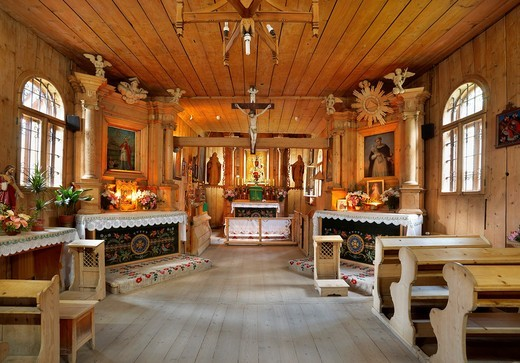 Stock Photo: 1566-857475 Antique wooden church in Zakopane, Podhale region, Poland, Europe