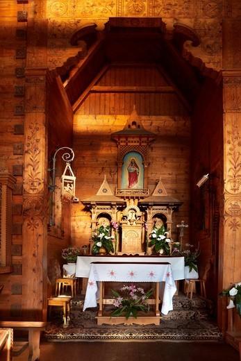 Jaszczurowka-antique wooden church in Zakopane, Podhale region, Poland, Europe : Stock Photo