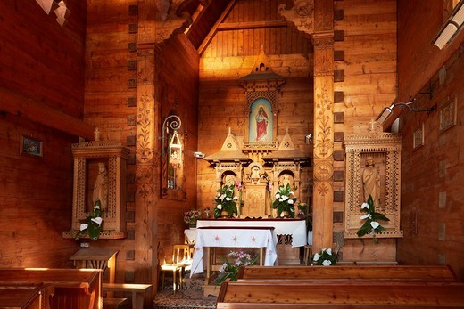Jaszczurowka-antique wooden church in Zakopane, Podhale region, Poland, Europe : Stock Photo