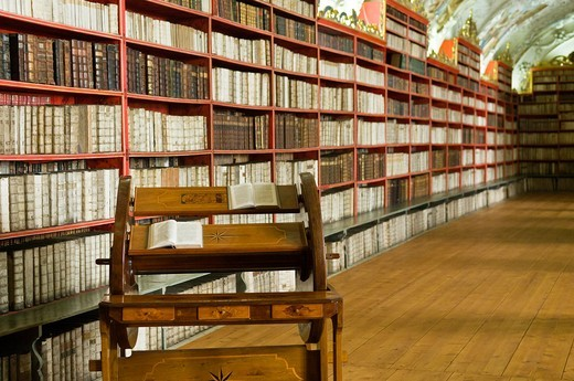 Interior of the Theological Hall in the Strahov Library with a lectern, Strahov Abbey, Prague, Bohemia, Czech Republic : Stock Photo