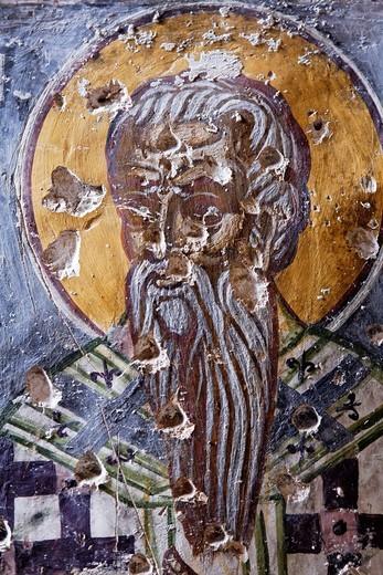Turkey - Trabzon Province - damaged fresco at the Sumela monastery : Stock Photo
