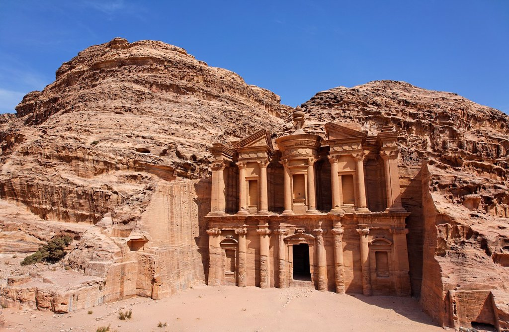 Stock Photo: 1566-859238 The Monastery, sculpted out of the rock, at Petra, Jordan