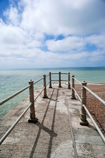 Stock Photo: 1566-859871 Small pier on the beach at Hastings, East Sussex, England, UK