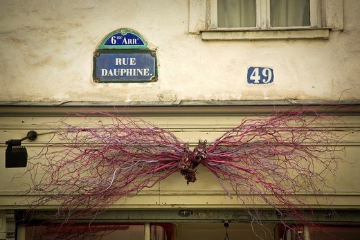 Store decoration made from painted twigs above shop in Rue Dauphine, Paris, France : Stock Photo