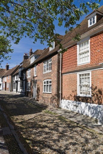 Cobbled street, Rye, East Sussex, England, UK : Stock Photo