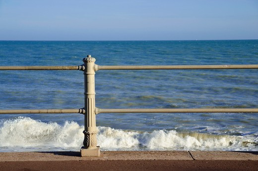Stock Photo: 1566-859887 Decorative iron fence on seafront at Hastings, East Sussex, England