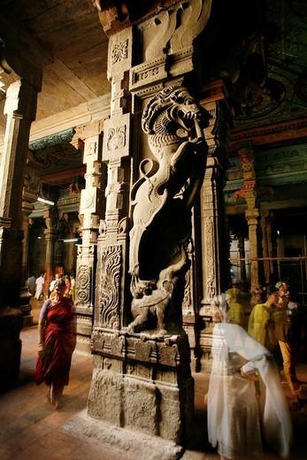 Stock Photo: 1566-859958 Columns and ornaments  Sri Meenakshi Temple  Madurai, Tamil Nadu, India, Asia
