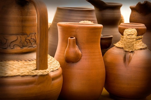 Pottery vases in a sample of handcrafts in Madrid, Spain, Europe : Stock Photo