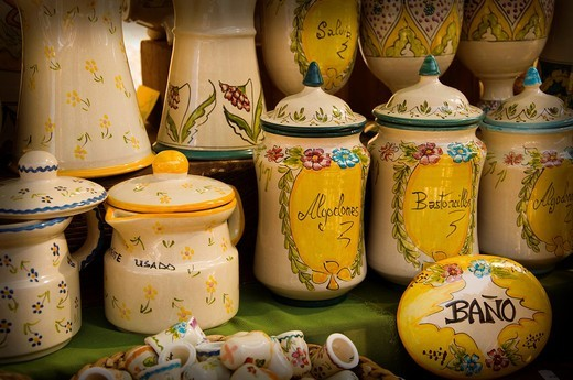 Stock Photo: 1566-860261 Pottery vases decorated in a sample of handcrafts in Madrid, Spain, Europe
