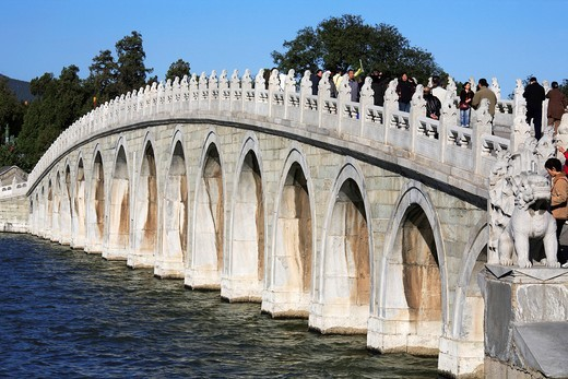 China, Beijing, Summer Palace, Bridge of 17 Arches : Stock Photo