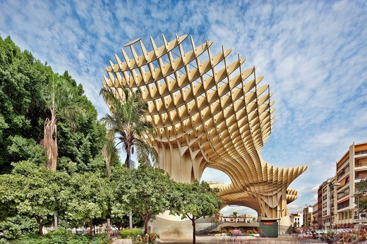 Stock Photo: 1566-861884 Metropol Parasol building, Seville, Spain