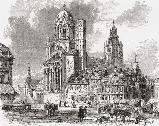 Mainz Cathedral, aka St  Martin´s Cathedral, Mainz, Germany in the 19th century  From Pictures from the German Fatherland published c 1880 : Stock Photo