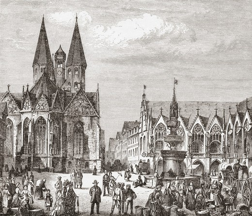 Stock Photo: 1566-862317 The Old Market, Braunschweig, Lower Saxony, Germany in the 19th century  From Pictures from the German Fatherland published c 1880