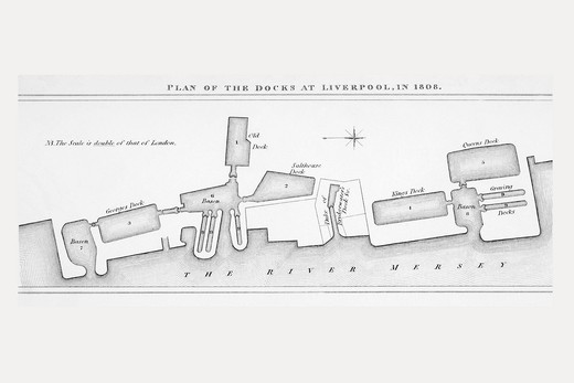 Stock Photo: 1566-862379 Plan of Liverpool docks as they were in 1808  From The Cyclopaedia or Universal Dictionary of Arts, Sciences and Literature by Abraham Rees, published London 1820