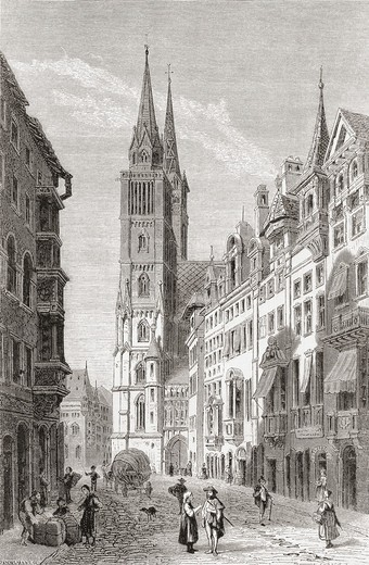 Stock Photo: 1566-862381 St  Lorenz church, Nuremberg, Bavaria, Germany in the 19th century  From Pictures from the German Fatherland published c 1880