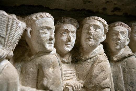 Interior of the Monastery of Cañas, Statuary, Monumental, sculptural group, La Rioja, Spain, Europe  Sepulcro de Doña Urraca Doña Urraca´s sepulcher : Stock Photo