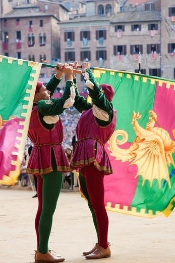 Stock Photo: 1566-863285 contrada of the dragon, historical parade, palio of siena, siena, tuscany, italy, europe