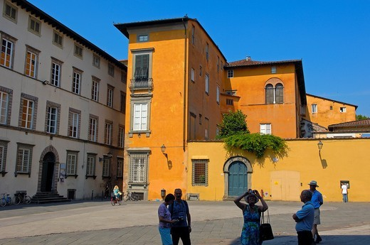 Lucca  San giovanni square  Piazza san giovanni  Tuscany  Italy  Europe. : Stock Photo
