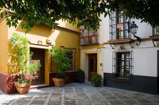 Stock Photo: 1566-865597 a typical scene in Seville, Spain  A square shaded by orange trees