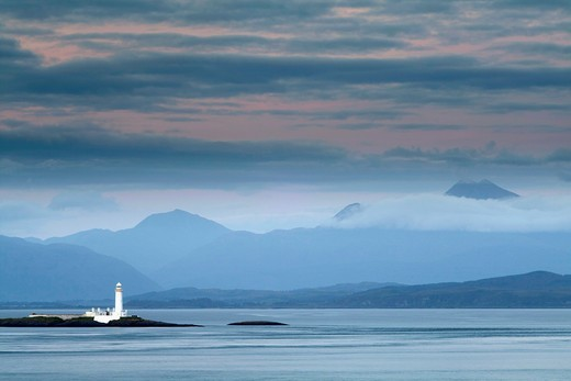 Lismore lighthouse near Duart Castle in Isle of Mull, Argyll and Bute, Scotland : Stock Photo