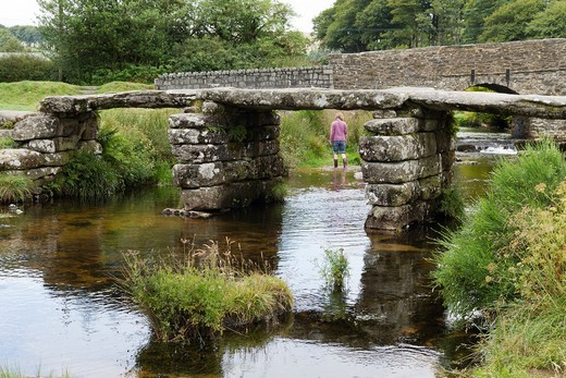 Stock Photo: 1566-866069 The historic Post Bridge in Two Bridges Dartmoor