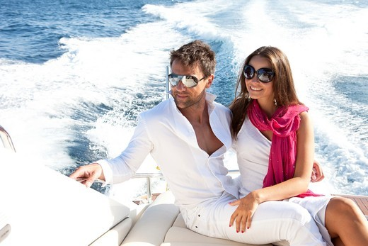 Couple in yacht : Stock Photo