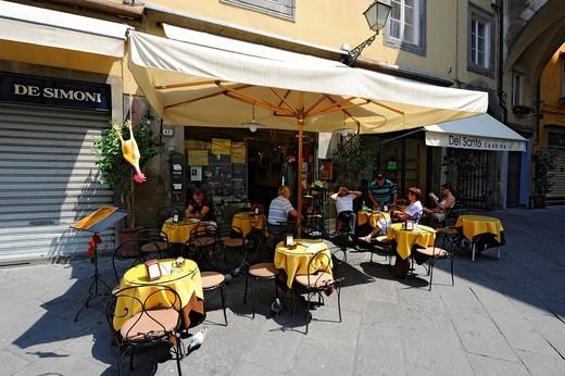 Outdoor Restaurant al fresco Lucca Italy Tuscany Europe Mediterranean : Stock Photo