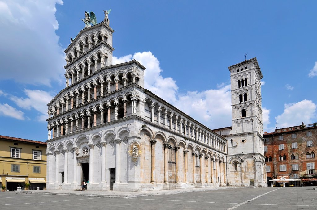 Stock Photo: 1566-866458 San Michele in Foro Church Piazza Lucca Italy Tuscany Europe Mediterranean