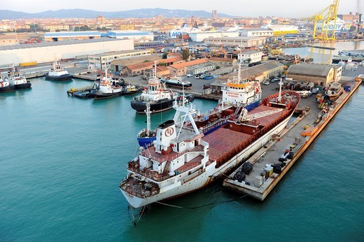 Livorno Italy Europe Port Shipping Transportation Goods : Stock Photo