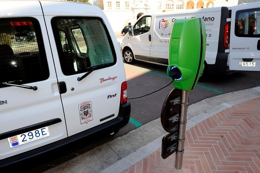 Electric Car Monte Carlo Monaco Principality French Riviera Mediterranean Cote d´Azur Alps : Stock Photo