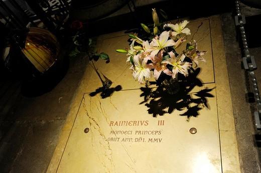 Prince Rainier Crypt Monte Carlo Cathedral Monaco Principality French Riviera Mediterranean Cote d´Azur Alps : Stock Photo