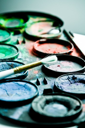 Watercolor Paintbox : Stock Photo