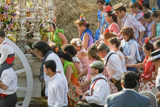 Taken from the banks of Guadiamar river at Quema fond province of Seville, Spain, where many brotherhoods of pilgrims cross the river in their way to El Rocio shrine : Stock Photo