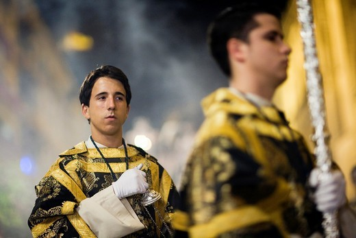 Altar boy with a censer, Holy Week 2008, Seville, Spain : Stock Photo