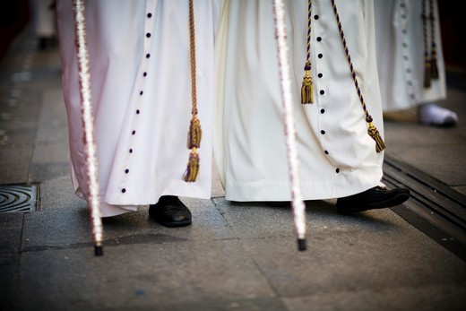 Feet of penitents, Holy Week, Seville, Spain : Stock Photo