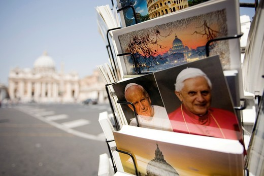 Vatican postcards with the image of the popes Benedict XVI and John Paul II, Vatican : Stock Photo