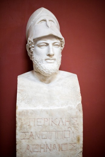 """Herm of Pericles bearing the inscription """"Pericles, son of Xanthippus, Athenian"""", Roman copy of the original by Kresilas, Vatican Museums : Stock Photo"""