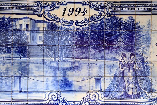 Detail of azulejo mural depicting victorian ladies next to the thermal pool in Terra Nostra Park, Furnas, Azores : Stock Photo