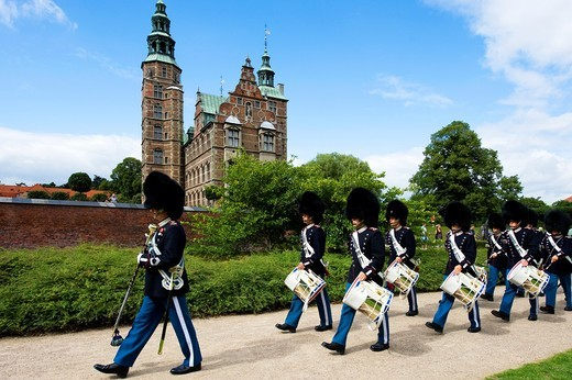 Stock Photo: 1566-868217 Rosenborg Castle and gardens, Vagtparade, changing of guards ceremony, Copenhagen, Denmark