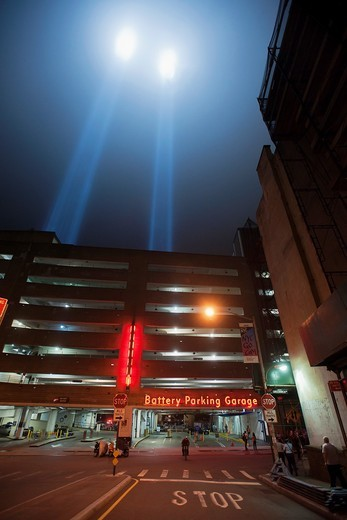 Stock Photo: 1566-868241 The twin beams of Tribute In Light shoot skyward for the tenth anniversary of the September 11 terrorist attacks in New York, seen on Sunday, September 11, 2011  © Richard B  Levine