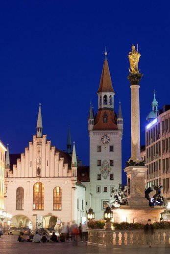 Marienplatz with Old Town Hall and Marian column at night, Munich, Germany : Stock Photo
