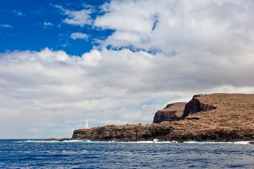 lighthouse at Palaoa Point aka Cape Kaea, near Kaunolu, South Lana'i, Lana'i aka Pineapple Island because of its past as an island-wide pineapple plantation of Dole, the sixth-largest island of the Hawaiian Islands, Hawaii, USA, Pacific Ocean : Stock Photo